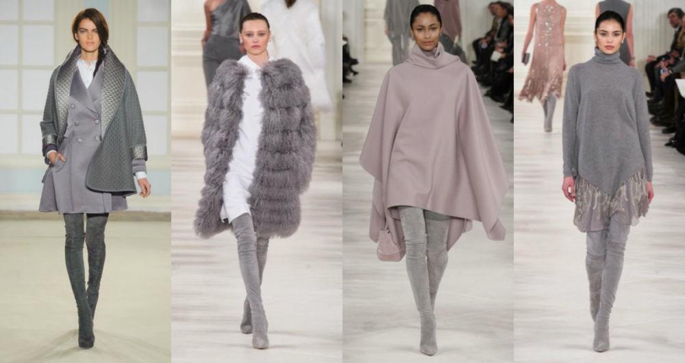 ботфорты на каблуках серые под пальто шубы пончо платье с чем носить зимой