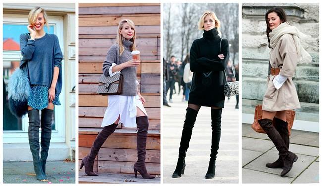 ботфорты на каблуке под юбку платье пальто с чем носить зимой
