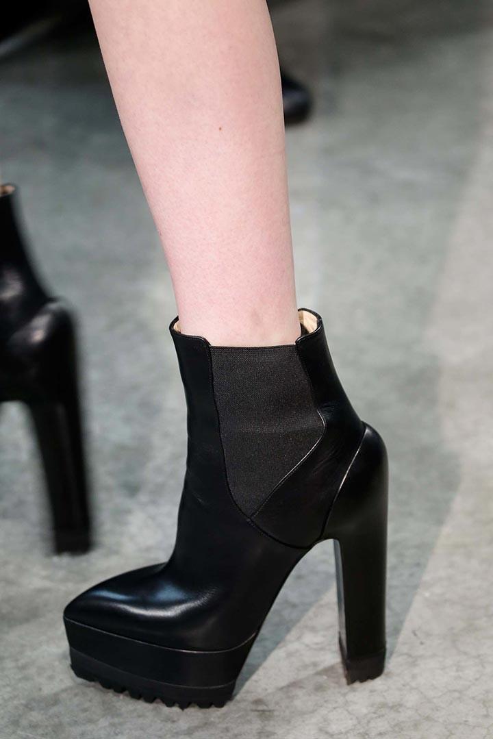 Ботильоны 2018 модные тенденции: батильоны на толстом каблуке кожаные черные