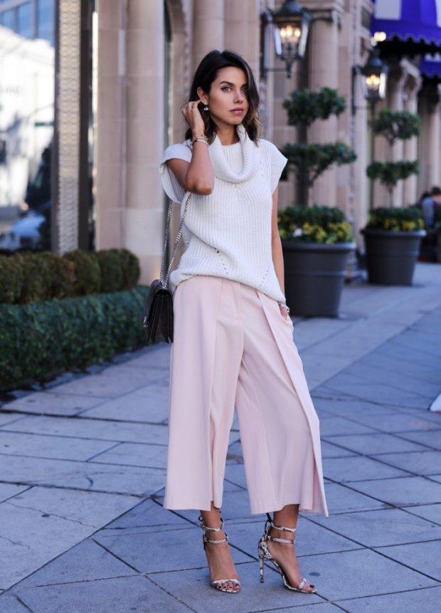 С чем носить брюки кюлоты: светлые под каблук