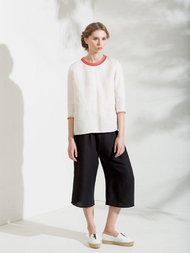 С чем носить брюки кюлоты: черные под кофту белую