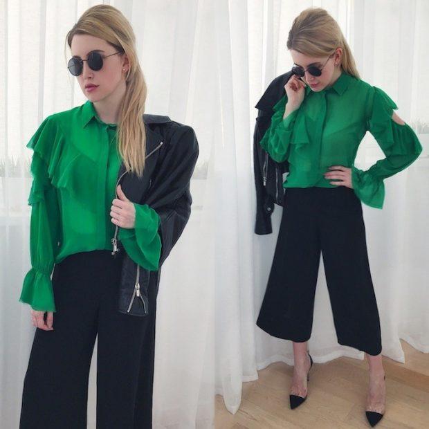 кюлоты черные под зеленую блузку