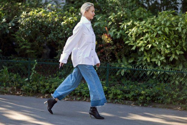 джинсовые кюлоты под рубашку белую