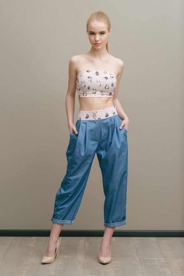 джинсовые под короткий топ без лямок