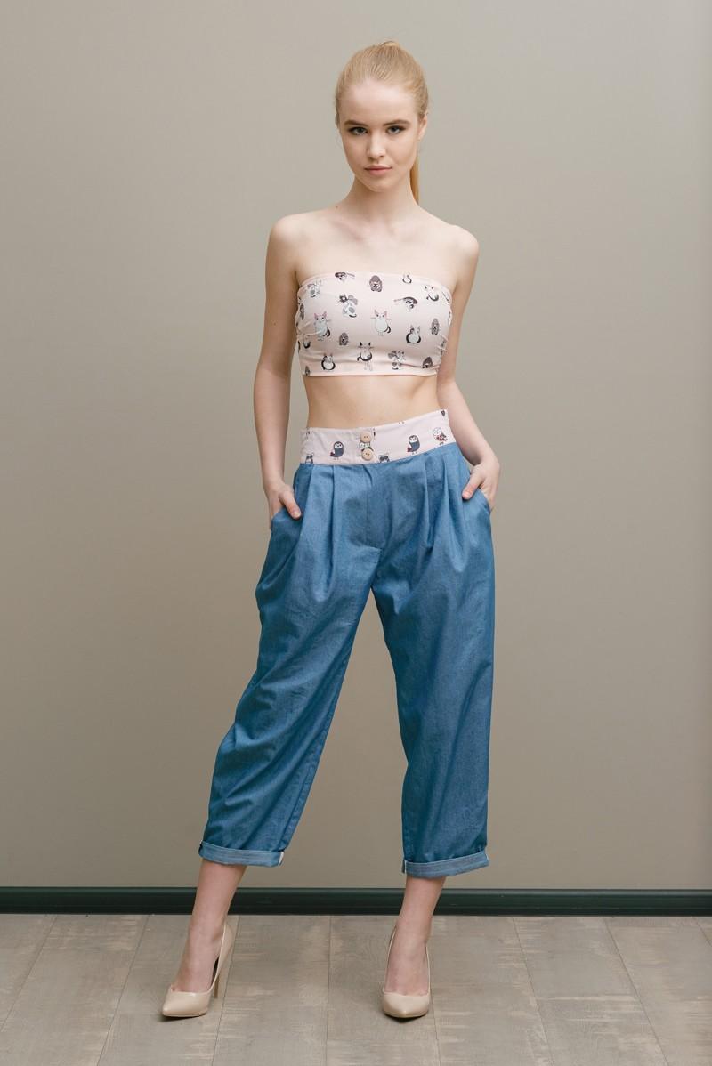 джинсовые кюлоты под короткий топ без лямок