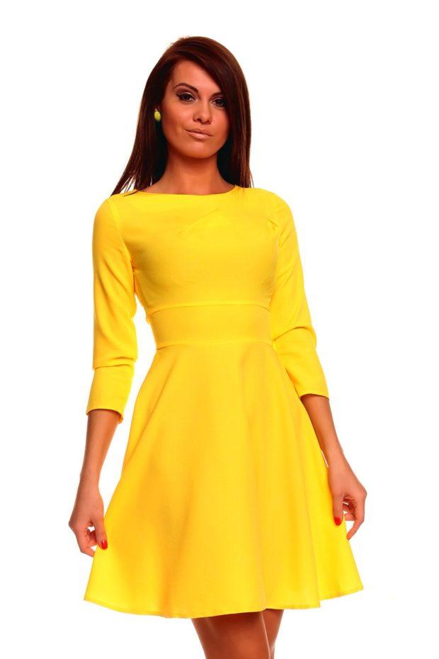 Что одеть на новогодний корпоратив 2020 фото: желтое платье рукав 3/4 миди