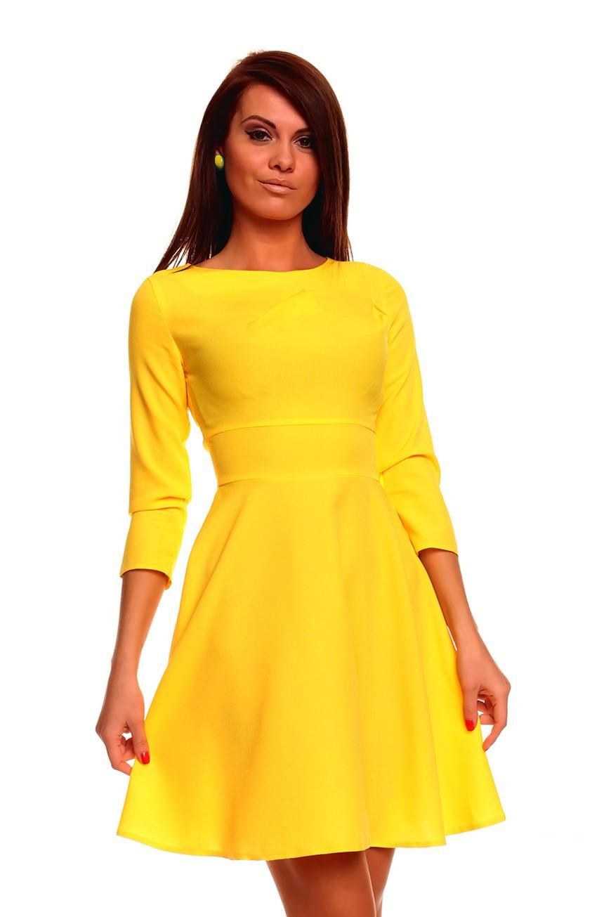 Что одеть на новогодний корпоратив 2019 фото: желтое платье рукав 3/4 миди