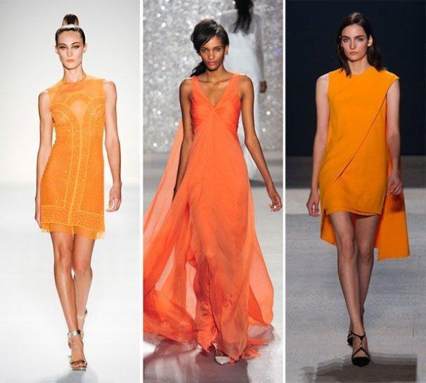 Что одеть на новогодний корпоратив 2019 фото: платья оранжевые короткое в пол шифоновое