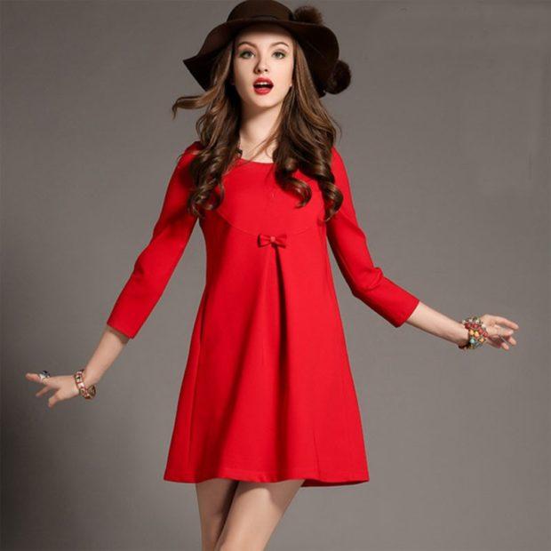 Что одеть на новогодний корпоратив 2020 фото: платье красное 3/4 рукав