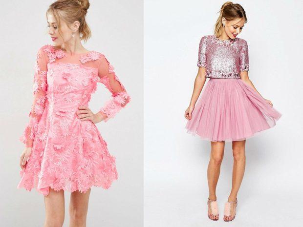 Что одеть на новогодний корпоратив 2019 фото: платья розовые короткие