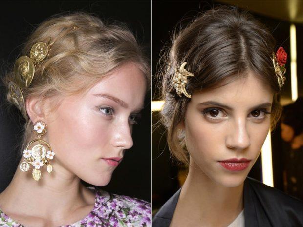 Что одеть на новогодний корпоратив 2019 фото: украшения на волосы сережки золотые