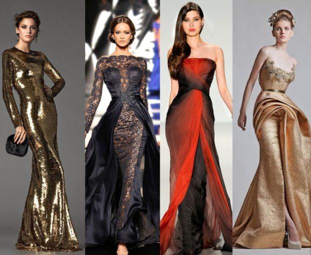 Что одеть на новогодний корпоратив 2019 фото: платья в пол золото черное красное