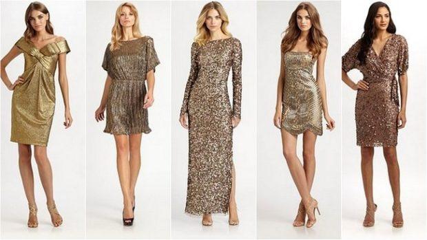 Что одеть на новогодний корпоратив 2019 фото: платья золотые миди длинные с рукавом и без