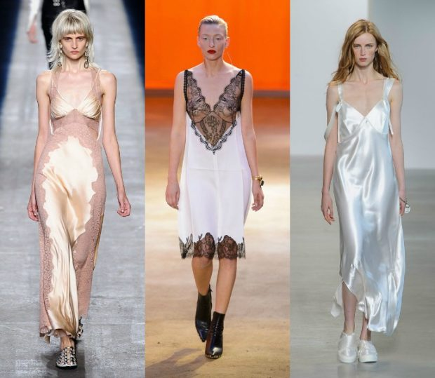 Что одеть на новогодний корпоратив 2019 фото: платья светлдые в бельевом стиле