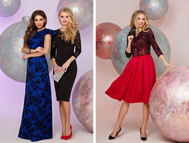 Что одеть на новогодний корпоратив 2019 фото: платья синее в пол миди черное красная юбка ажурный верх