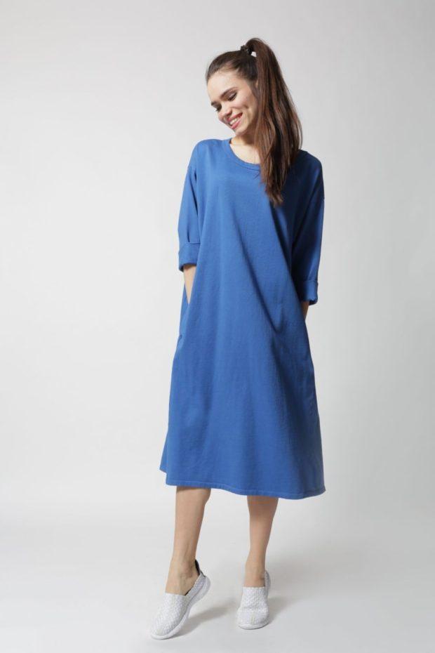 Что одеть на новогодний корпоратив 2020: платье синие миди рукав 3/4