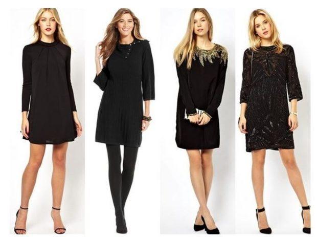Что одеть на новогодний корпоратив 2019 фото: офисные платья черные короткие рукава длинные