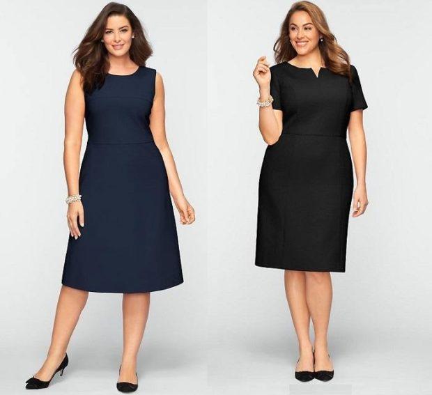 Что одеть на новогодний корпоратив 2019 фото: офисные платья синее черное  без рукав рукав короткий