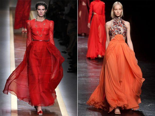 Что одеть на новогодний корпоратив 2019 фото: красное шифоновая юбка в пол оранжевая юбка верх в принт