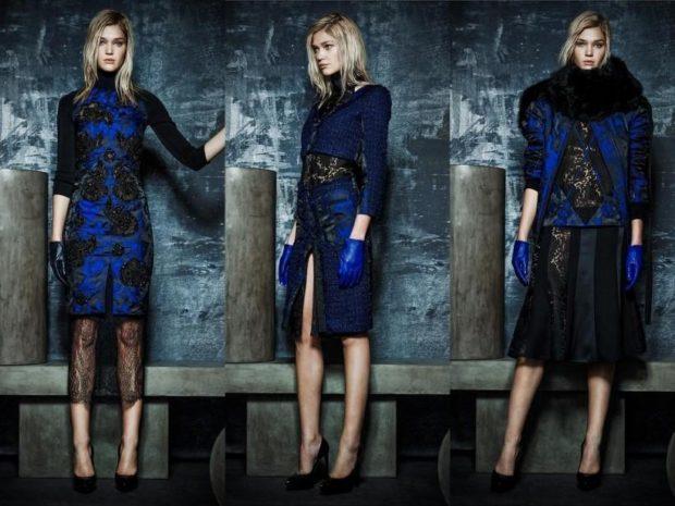 Что одеть на новогодний корпоратив 2019 фото: синее платье миди кружева