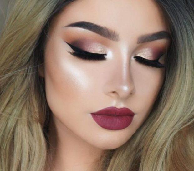 Что одеть на день Святого Валентина 2020: макияж вечерний яркие губы