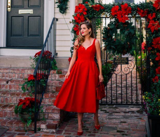 Что одеть на день Святого Валентина 2020: красное платье миди