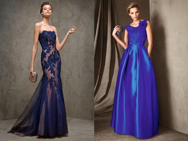 Что одеть на день Святого Валентина 2020: платье вечернее синее кружевное пышное шелковое