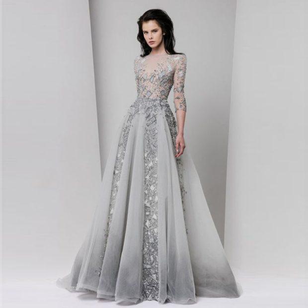 Что одеть на день Святого Валентина 2020: платье вечернее серебристое пышная юбка