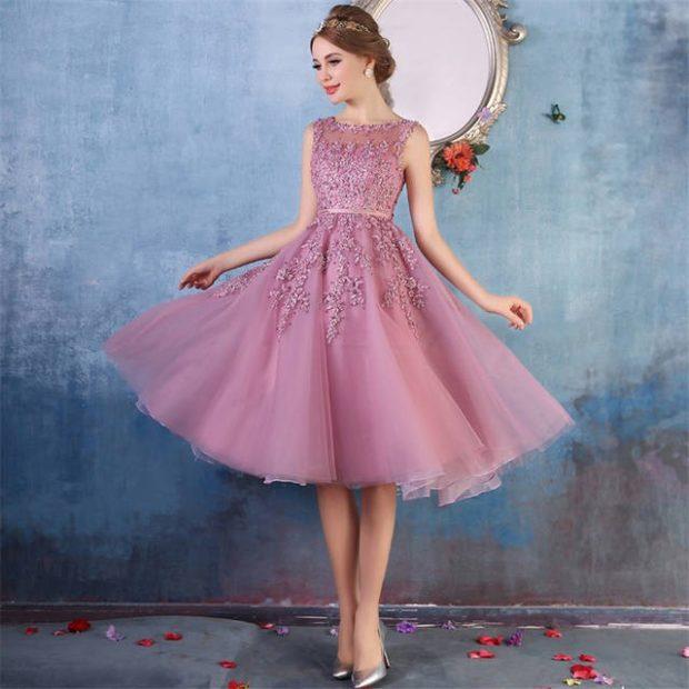 Что одеть на день Святого Валентина 2020: платье вечернее сиреневое юбка пышная без рукава