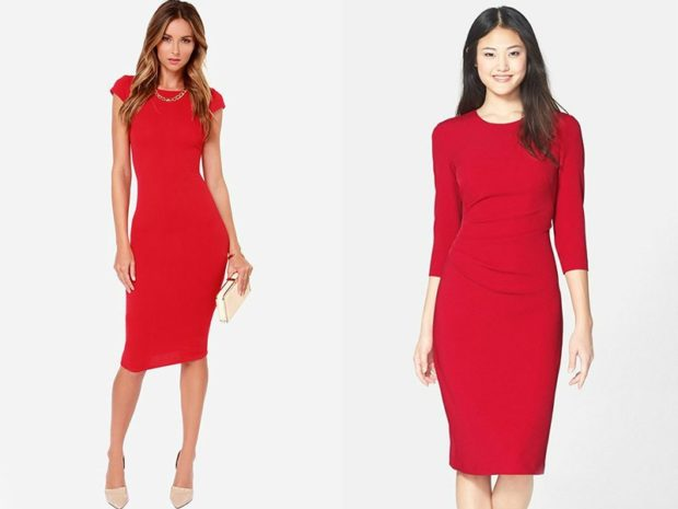 Что одеть на день Святого Валентина 2019: красное платье по фигуре