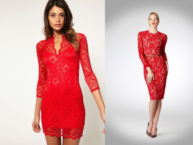 Что одеть на день Святого Валентина 2019: красное ажурное платье короткое