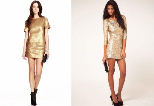 Что одеть на день Святого Валентина 2020: золотые платья короткие