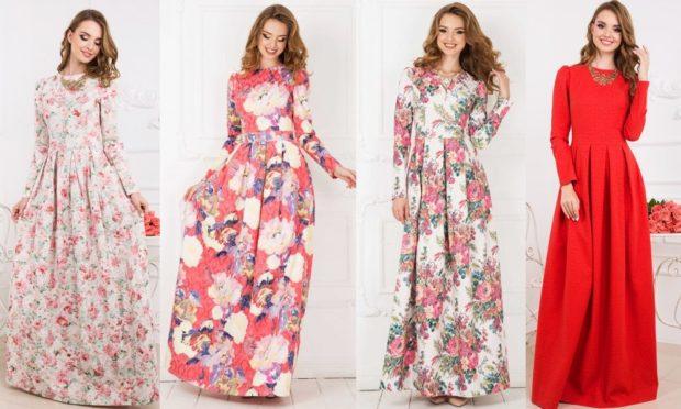 Что одеть на день Святого Валентина 2019: платья в пол в цветы
