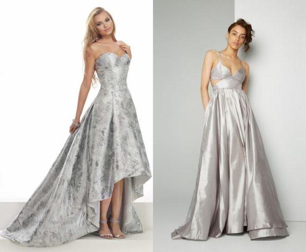 Что одеть на день Святого Валентина 2019: платья серебристые юбка со шлейфом платье в пол
