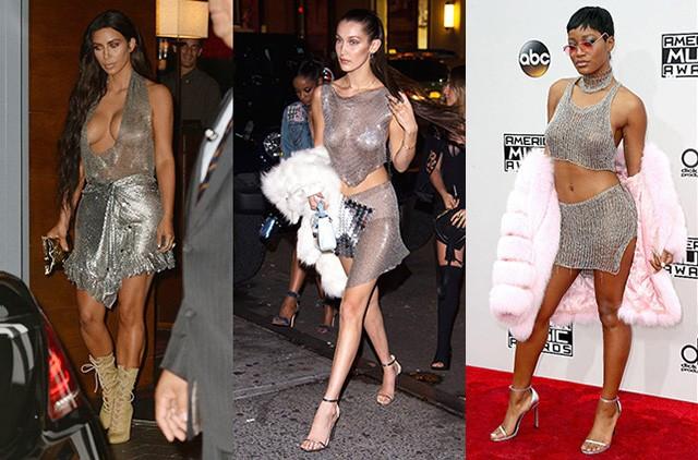голые платья фото: без белья серебристое короткое в сетку