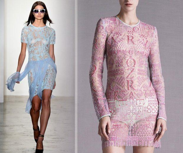 голые платья фото: платья с прозрачной ткани голубое розовое
