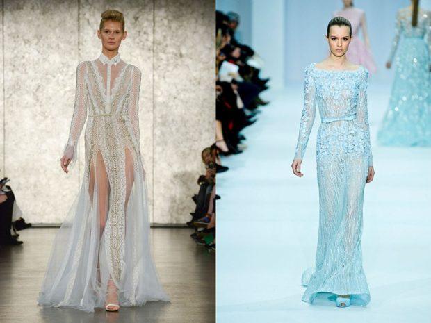 голые платья фото: платья с прозрачной ткани белое голубое  в пол
