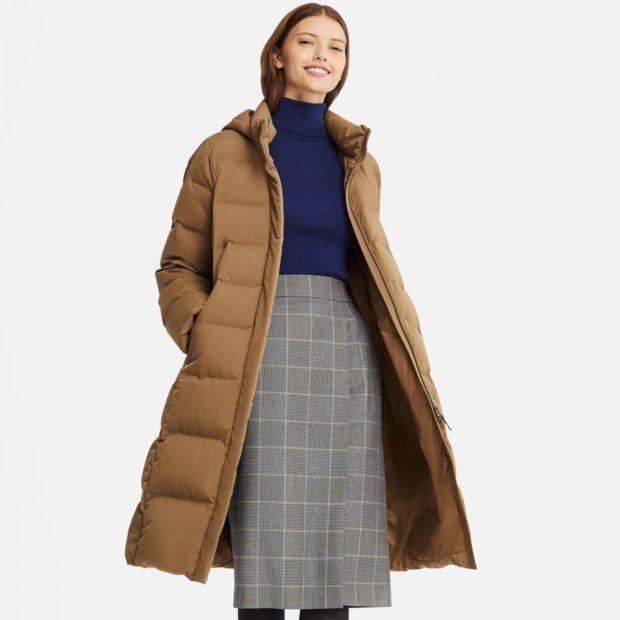 как носить длинную юбку зимой с пуховиком