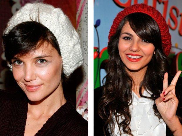 Как носить шапку с челкой: вязаная с челкой белая и красная