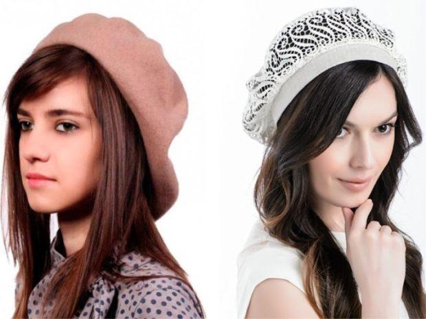 Как носить шапку с челкой: с челкой бежевая и белая