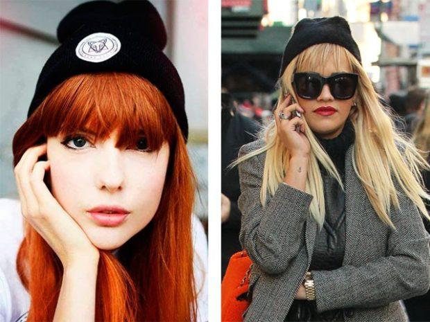 Как носить шапку с челкой: с челкой черная