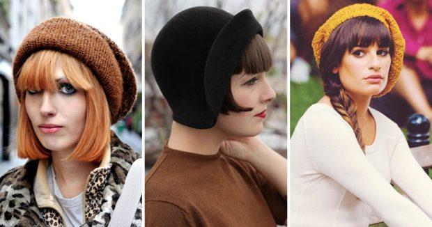 Как носить шапку с челкой: вязаная с челкой коричневая ,черная, оранжевая