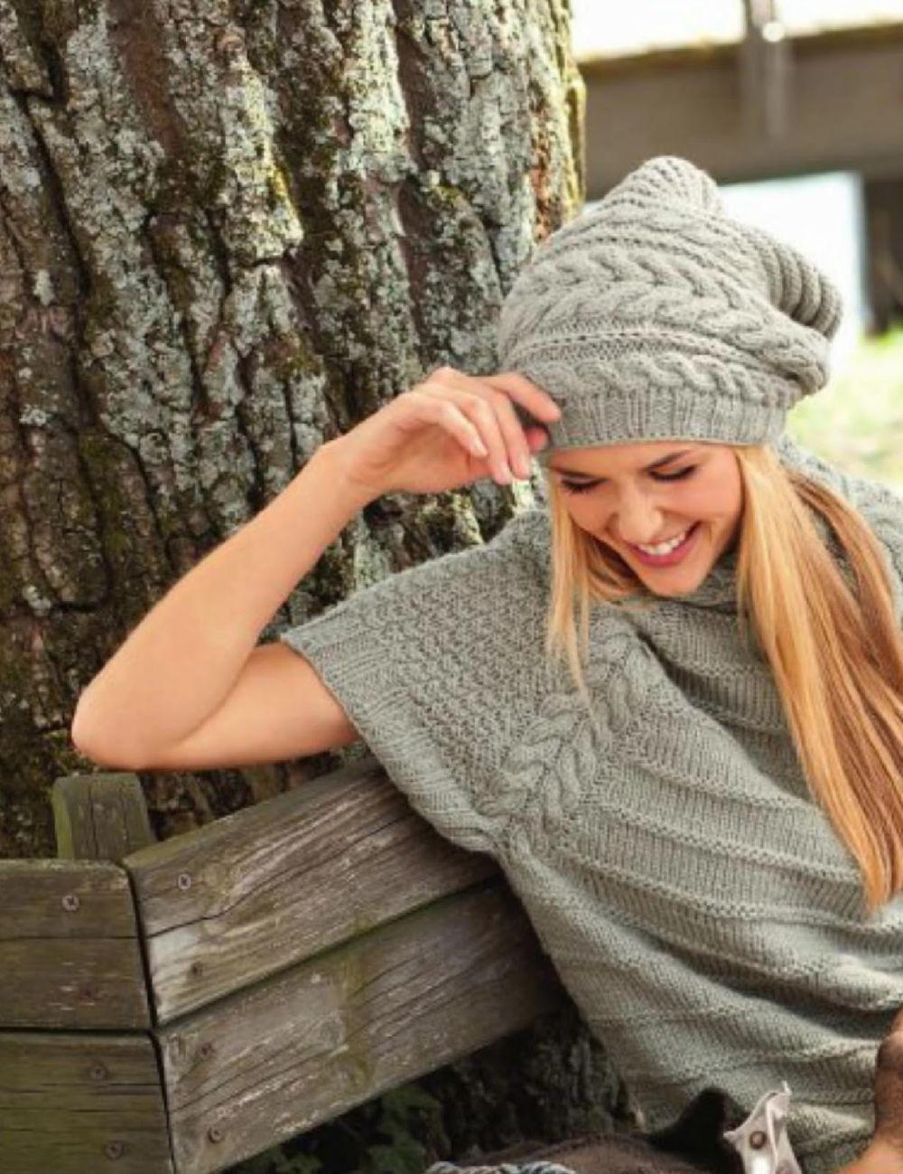 Как носить шапку с челкой: вязаная с челкой серая