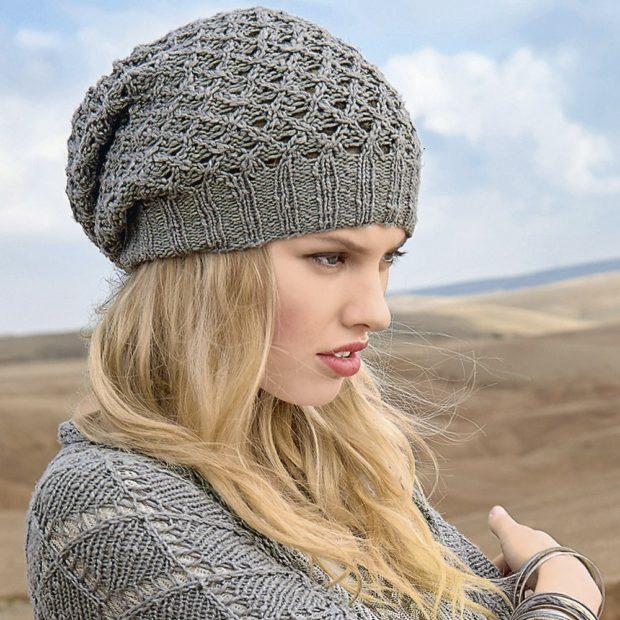 Как носить шапку с челкой: вязаная берет с челкой серый