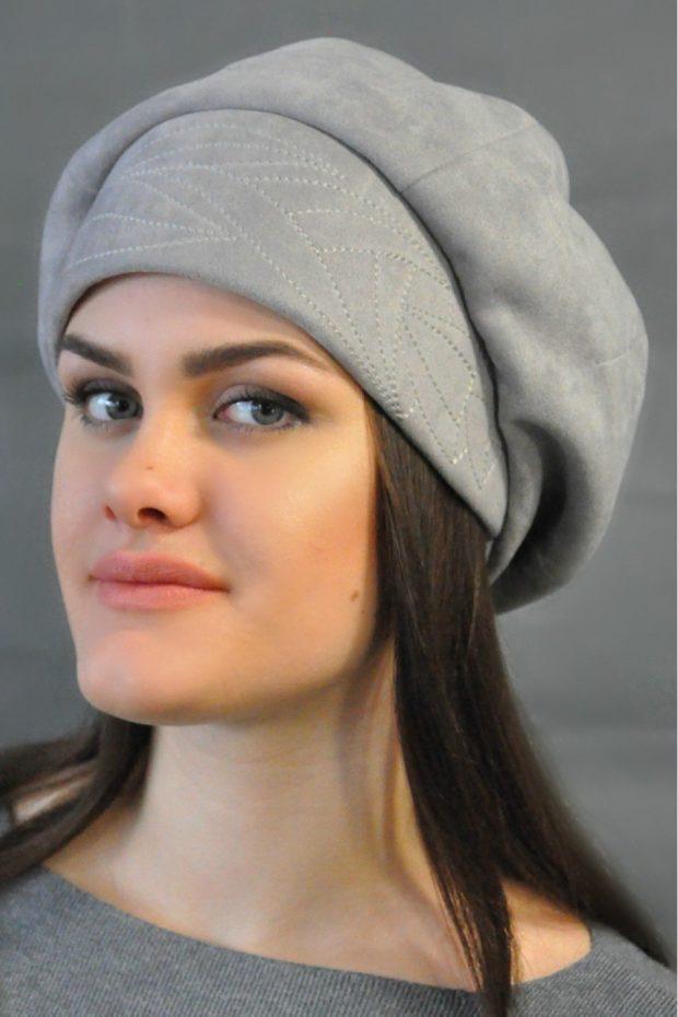 Как носить шапку с челкой: берет с челкой серый