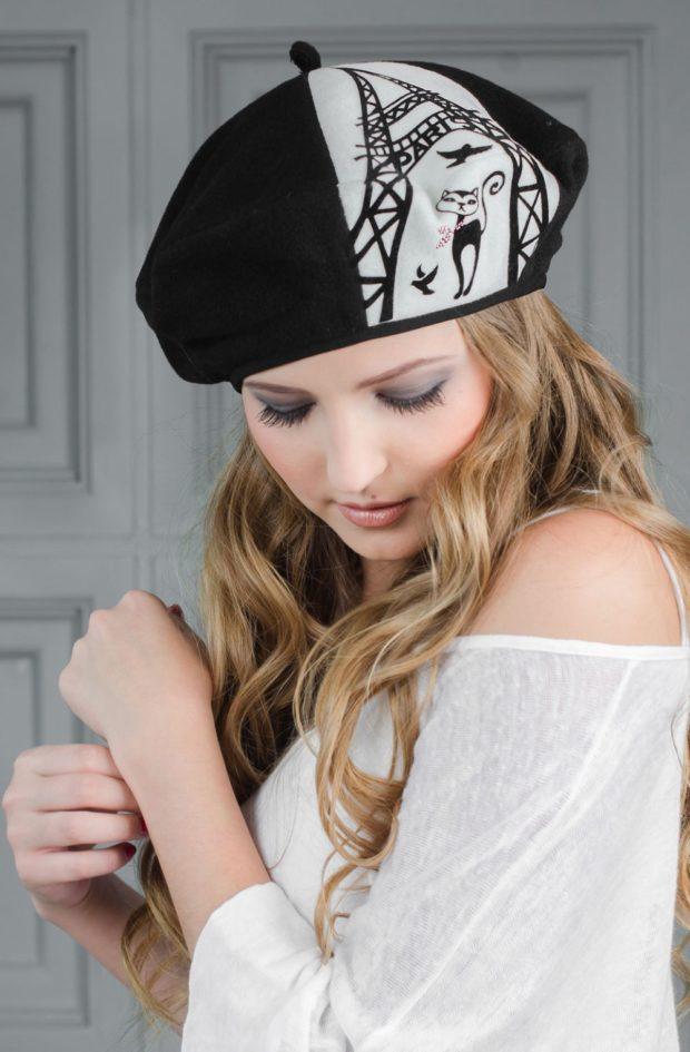Как носить шапку с челкой: берет с челкой черный с белым