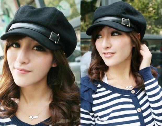Как носить шапку с челкой: кепи с ремешком черный