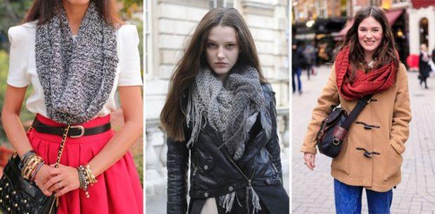 Как правильно носить хомут: серый в одни оборот серый  под куртку красный на шее один оборот