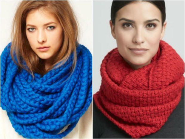 Как правильно носить хомут: как шарф синий красный