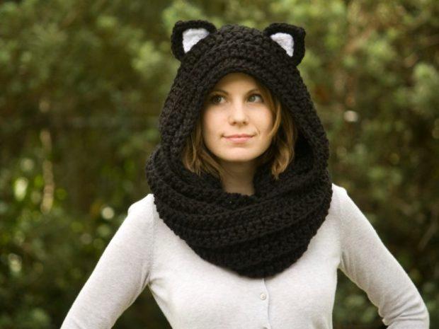 Как правильно носить хомут: крупная вязка на голову с ушками